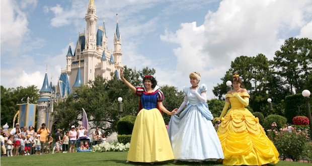 Disney Princesses, Snow White, Cinderella, Belle in front of Cinderella's Castle at the Magic Kingdom, FLTravelLife.com