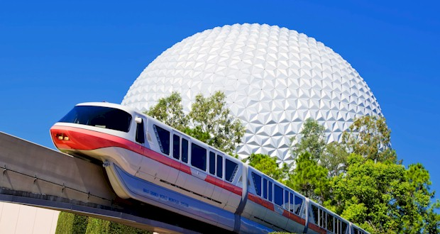 Disney monorail in front of Planet Earth, FLTravelLife.com